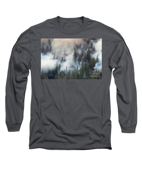 Beaver Fire Trees Swimming In Smoke Long Sleeve T-Shirt