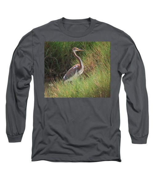 Long Sleeve T-Shirt featuring the photograph Tri-color Heron by Leticia Latocki
