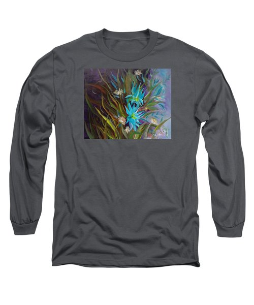 Tropical Blue Long Sleeve T-Shirt by Jenny Lee