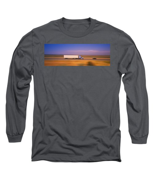 Truck And A Car Moving On A Highway Long Sleeve T-Shirt