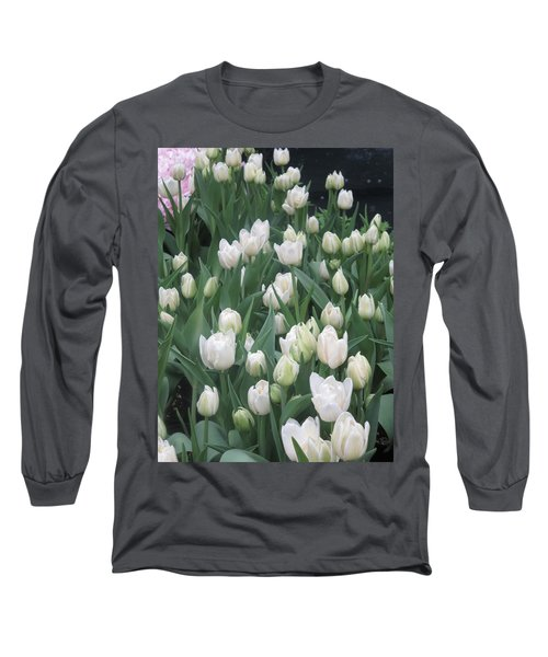 Long Sleeve T-Shirt featuring the photograph Tulip White Show Flower Butterfly Garden by Navin Joshi