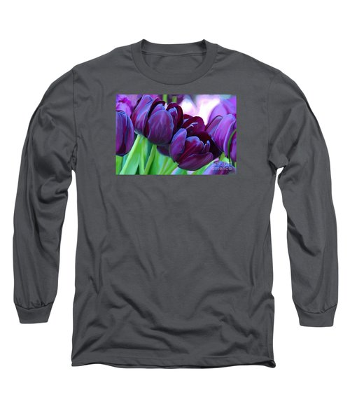 Tulips-dark-purple Long Sleeve T-Shirt
