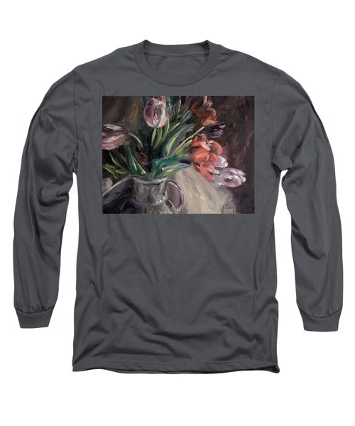 Long Sleeve T-Shirt featuring the painting Tulips by Donna Tuten