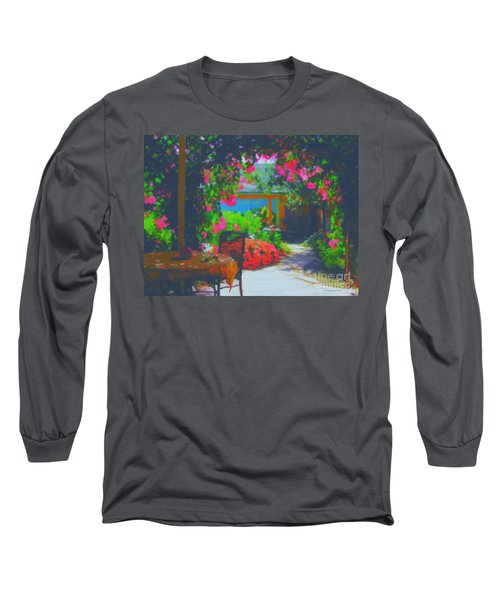 Long Sleeve T-Shirt featuring the painting Tuscan Courtyard by Tim Gilliland
