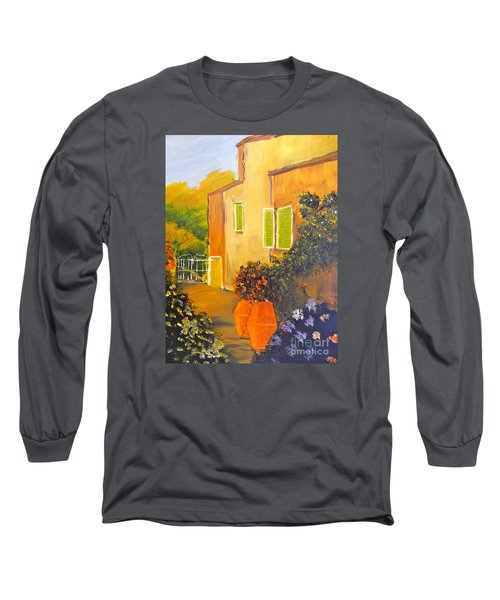 Long Sleeve T-Shirt featuring the painting Tuscany Courtyard by Pamela  Meredith