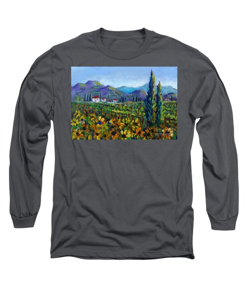 Long Sleeve T-Shirt featuring the painting Tuscany Sunflowers Miniature by Lou Ann Bagnall