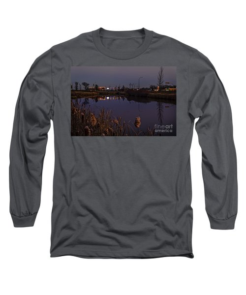 Twilight Over The River In Weyburn. Long Sleeve T-Shirt