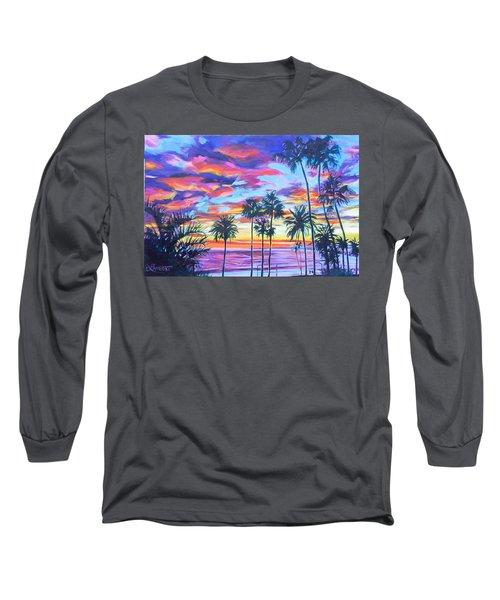 Twilight Palms Long Sleeve T-Shirt by Bonnie Lambert