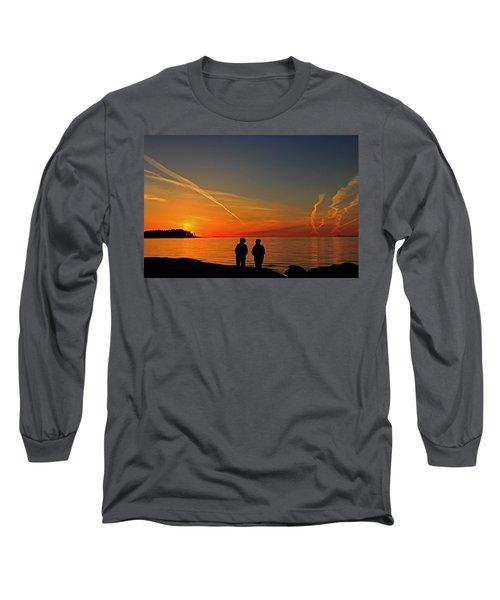 Two Friends Enjoying A Sunset Long Sleeve T-Shirt