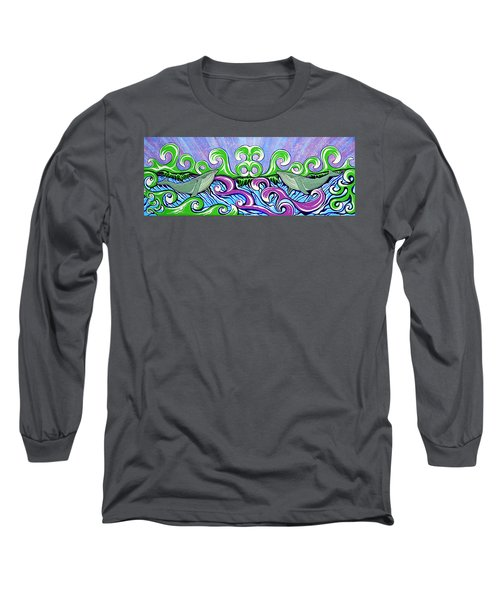 Long Sleeve T-Shirt featuring the painting Two Gray Whales by Debbie Chamberlin
