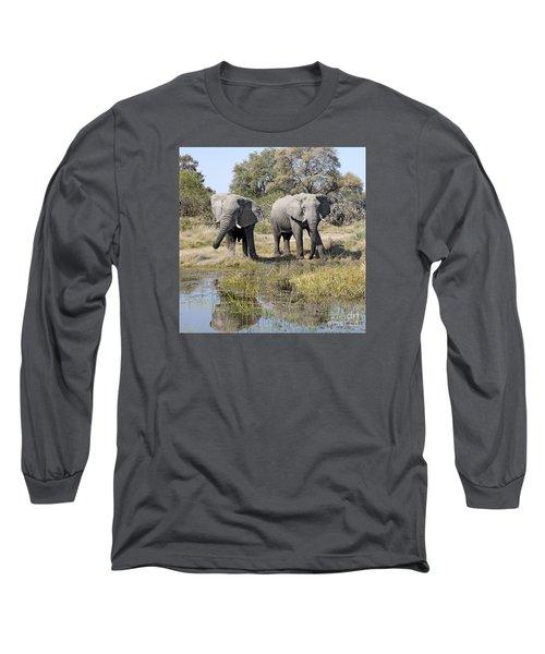 Long Sleeve T-Shirt featuring the photograph Two Male Elephants Okavango Delta by Liz Leyden