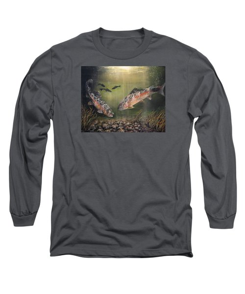 Two Rainbow Trout Long Sleeve T-Shirt by Donna Tucker