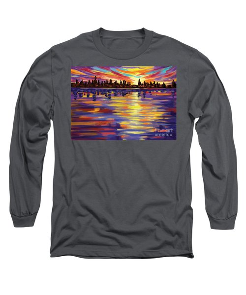 Long Sleeve T-Shirt featuring the painting Tyler's Sunrise by Tim Gilliland