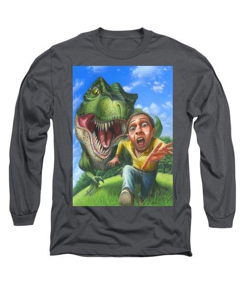 Tyrannosaurus Rex Jurassic Park Dinosaur - T Rex - Paleoart- Fantasy - Extinct Predator Long Sleeve T-Shirt