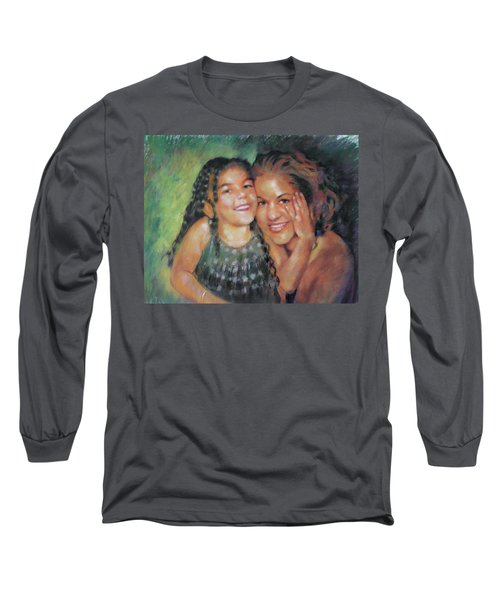 Long Sleeve T-Shirt featuring the drawing Unconditional Love by Viola El