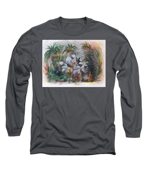 Under The Palm Trees At The Oasis Long Sleeve T-Shirt by Laila Awad Jamaleldin
