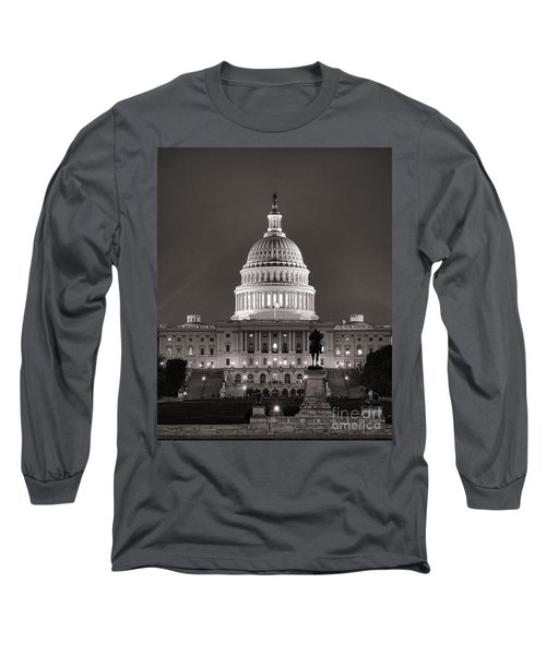 United States Capitol At Night Long Sleeve T-Shirt