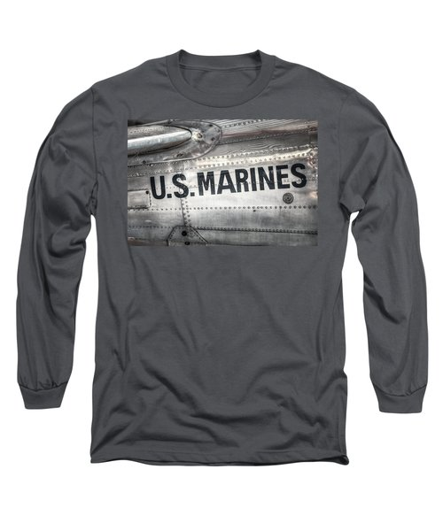 Long Sleeve T-Shirt featuring the photograph United States Marines - Beech C-45h Expeditor by Gary Heller