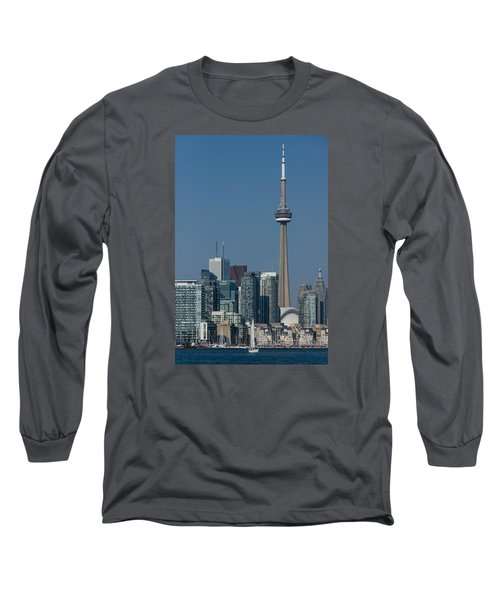 Up Close And Personal - Cn Tower Toronto Harbor And Skyline From A Boat Long Sleeve T-Shirt by Georgia Mizuleva