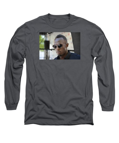 Long Sleeve T-Shirt featuring the photograph Usain Bolt - The Legend 3 by Teo SITCHET-KANDA