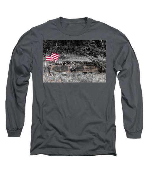 Long Sleeve T-Shirt featuring the photograph Usmc Veteran Headstone by Sherman Perry