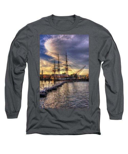 Uss Constitution Sunset - Boston Long Sleeve T-Shirt