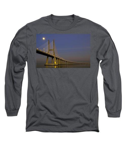 Vasco Da Gama Bridge In The Moonlight Long Sleeve T-Shirt