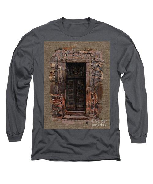 Long Sleeve T-Shirt featuring the painting Venetian Door 02 Elena Yakubovich by Elena Yakubovich