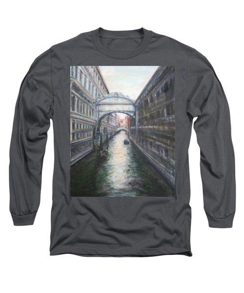 Venice Bridge Of Sighs - Original Oil Painting Long Sleeve T-Shirt by Quin Sweetman