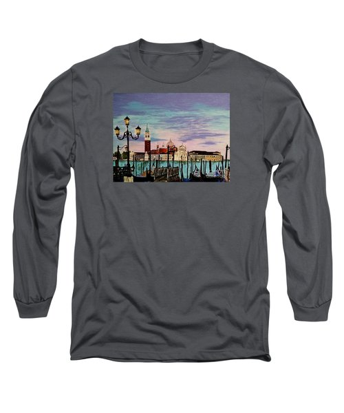 Long Sleeve T-Shirt featuring the painting Venice  Italy By Jasna Gopic by Jasna Gopic