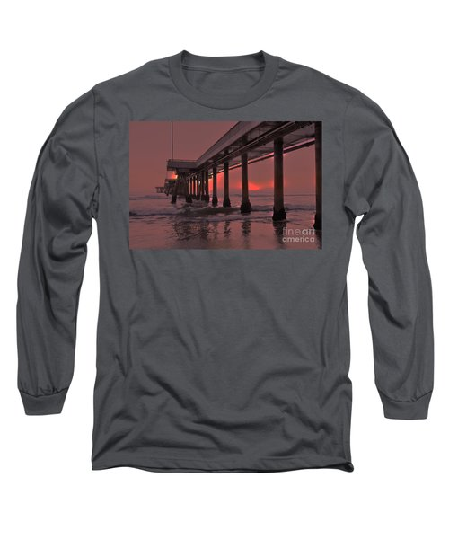 Venice Pier In Red Long Sleeve T-Shirt