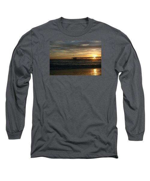 Long Sleeve T-Shirt featuring the photograph Ventura Pier 01-10-2010 Sunset  by Ian Donley