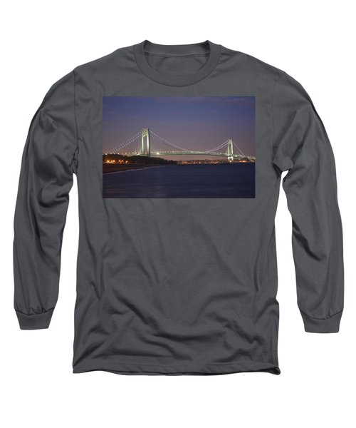 Verrazano Narrows Bridge At Night Long Sleeve T-Shirt by Kenneth Cole