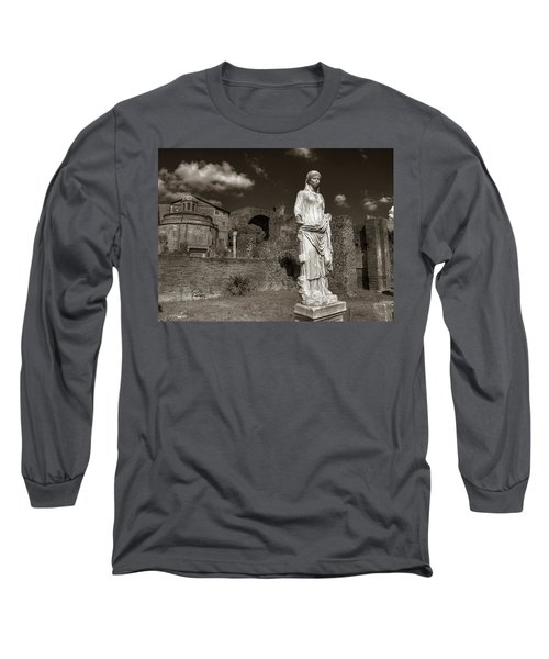 Vestal Virgin Courtyard Statue Long Sleeve T-Shirt