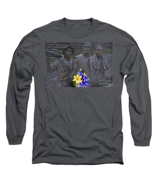 Vietnam Veteran Wall And Three Soldiers Memorial Collage Washington Dc_2 Long Sleeve T-Shirt
