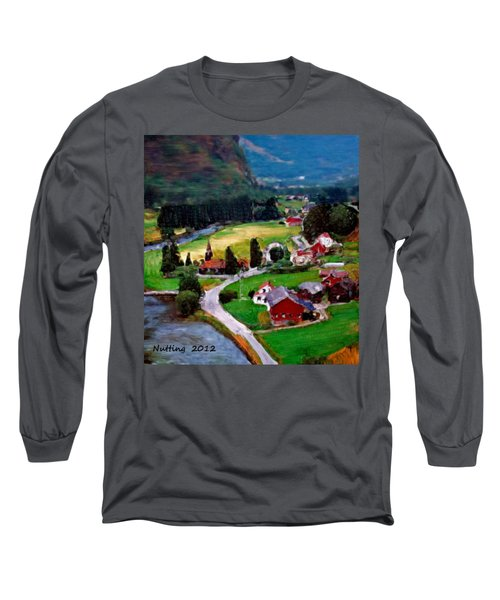 Long Sleeve T-Shirt featuring the painting Village In The Mountains by Bruce Nutting