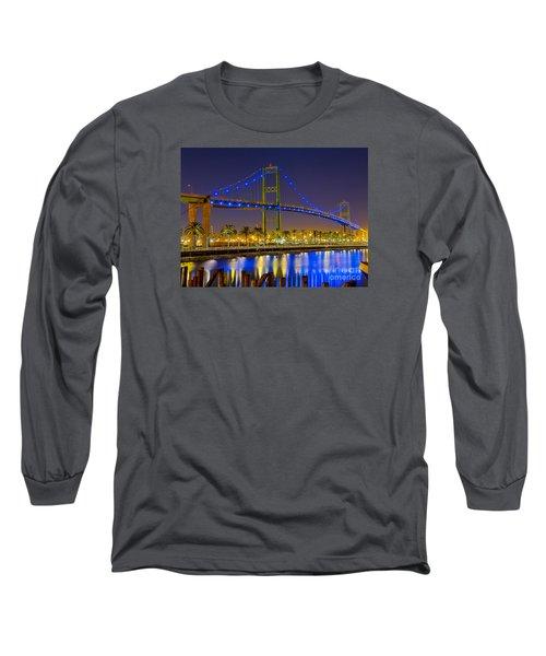 Vincent Thomas Bridge - Nightside Long Sleeve T-Shirt by Jim Carrell