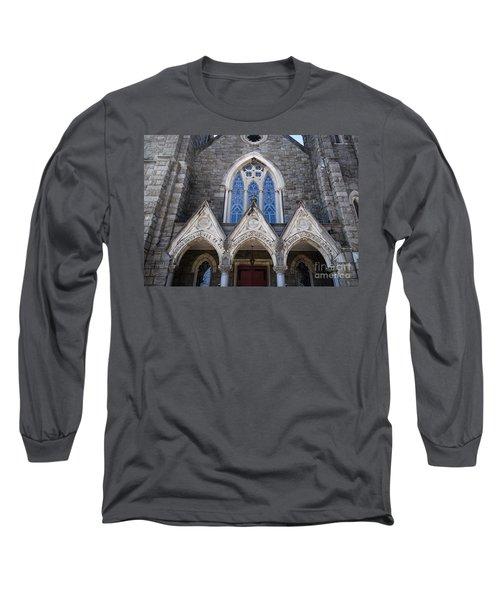 Long Sleeve T-Shirt featuring the digital art Vintage Block Church Circa 1901 by Melissa Messick