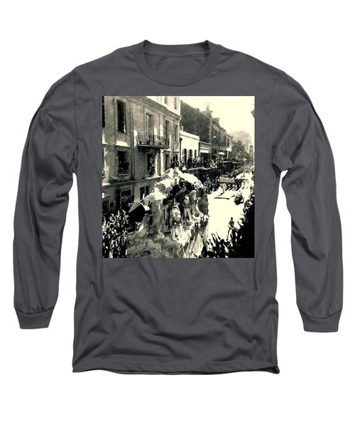 Long Sleeve T-Shirt featuring the photograph New Orleans Vintage Mardi Gras In The French Quarter Of  Louisiana  1960 by Michael Hoard