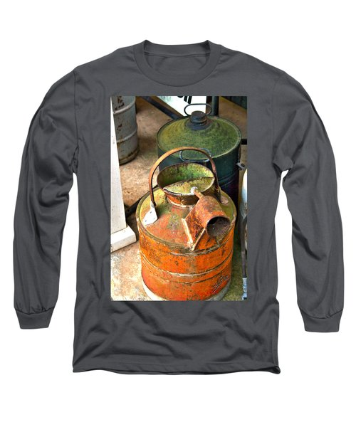 Long Sleeve T-Shirt featuring the photograph Vintage Orange And Green Galvanized Containers by Lesa Fine