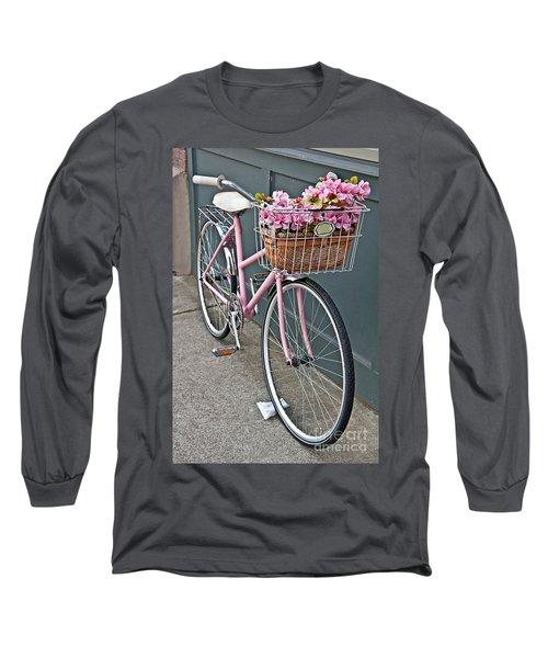 Vintage Pink Bicycle With Pink Flowers Art Prints Long Sleeve T-Shirt by Valerie Garner