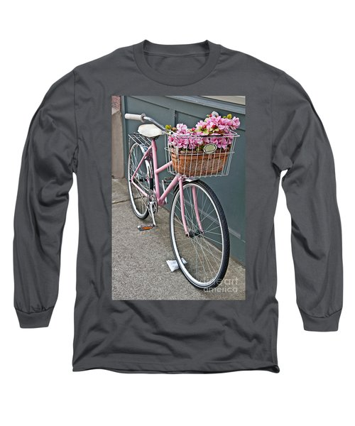 Vintage Pink Bicycle With Pink Flowers Art Prints Long Sleeve T-Shirt