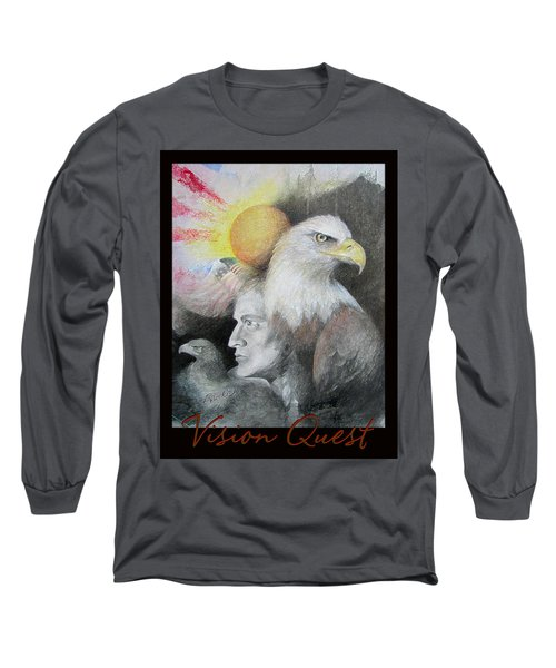 Vision Quest - Native American Art - Pastel And Pencil Long Sleeve T-Shirt