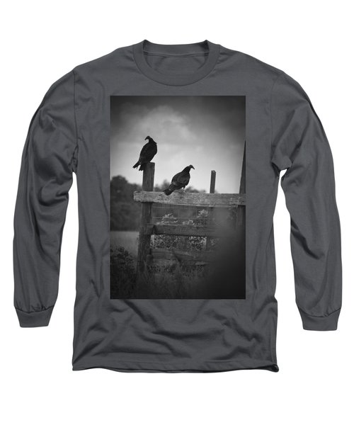 Vultures On Fence Long Sleeve T-Shirt by Bradley R Youngberg