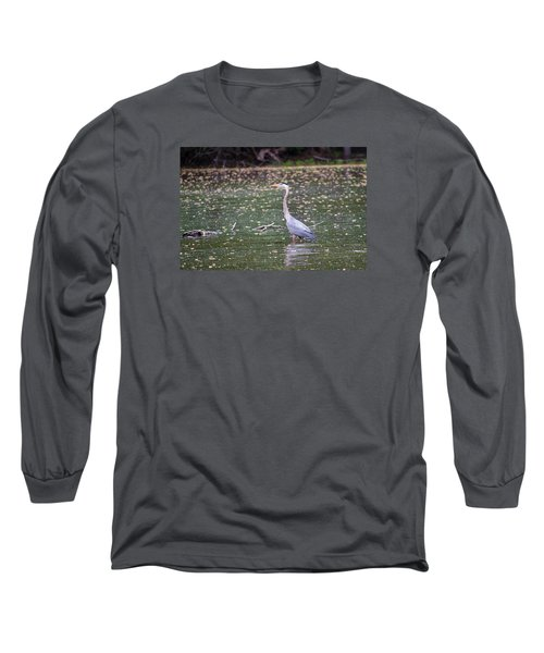 Long Sleeve T-Shirt featuring the photograph Wading Crane by Susan  McMenamin