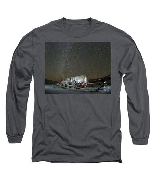 Wagon Train Under Night Sky Long Sleeve T-Shirt
