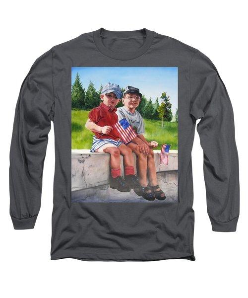 Long Sleeve T-Shirt featuring the painting Waiting For The Parade by Lori Brackett