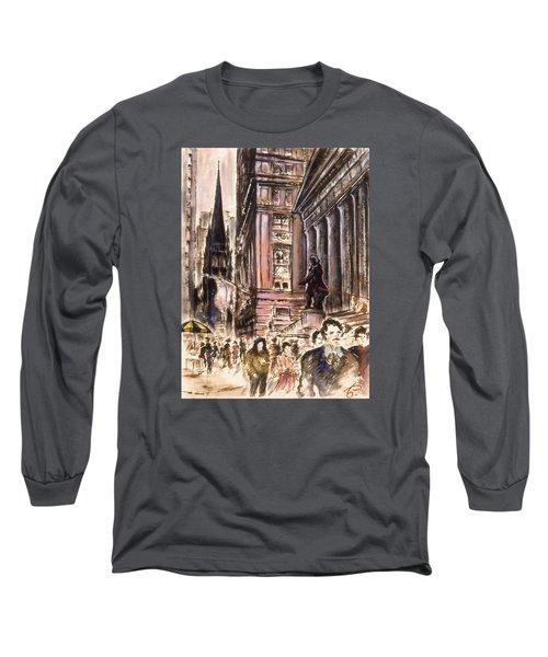 New York Wall Street - Fine Art Painting Long Sleeve T-Shirt