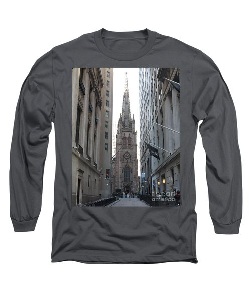 Wall Street Leading To Trinity Church Long Sleeve T-Shirt by John Telfer