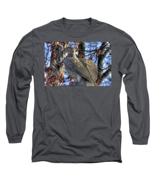 Long Sleeve T-Shirt featuring the photograph War Eagles - 28th Massachusetts Volunteer Infantry Rose Woods Near The Wheatfield Winter Gettysburg by Michael Mazaika
